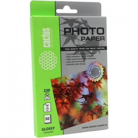 Бумага Cactus 230 г/м2, 10х15, глянцевая, 50л. CS-GA623050