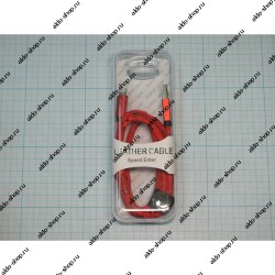 USB кабель Lightning Leather для iPhone 5/6 (1m) 2.1A red textured