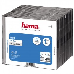 Коробка на 1CD/DVD Hama H-51167 Slim Box прозрачный, 25шт. (825821)