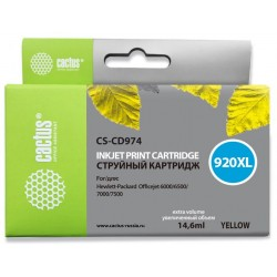 Картридж струйный CACTUS CS-CD974 №920XL для HP Officejet 6000/6500/7000/7500  yellow