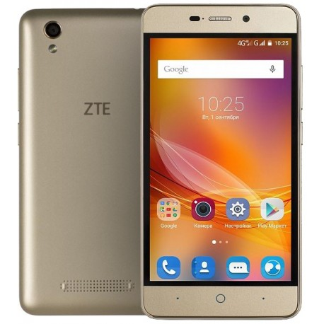 "Смартфон ZTE Blade X3 (4G) Gold 2sim/5""/720*1280/4*1ГГц/1Gb/8Gb/microSD/5Мп/Bt/WiFi/GPS/And5.1"