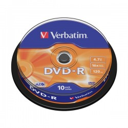 Диск DVD-R  10шт Verbatim 4.7Gb 16x Cake box 43523